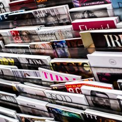 Rack of magazines